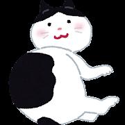 寝転がっている黒ブチの猫のイラスト
