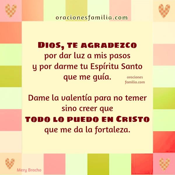 Oración y frases de aliento de gracias a Dios por Mery Bracho Acción de Gracias cristiano. todo puedo en Cristo