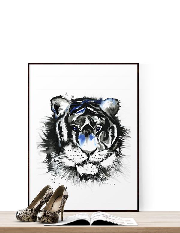 tiger, tigern, tigrar, tavla, tavlor, poster, posters, konsttryck, artprint, artprints, på väggen, annelies design & interior, anneliesdesign, annelie palmqvist, svart och vitt, svartvit, svartvita, svart, vitt, vit, vita, konst, print, prints,