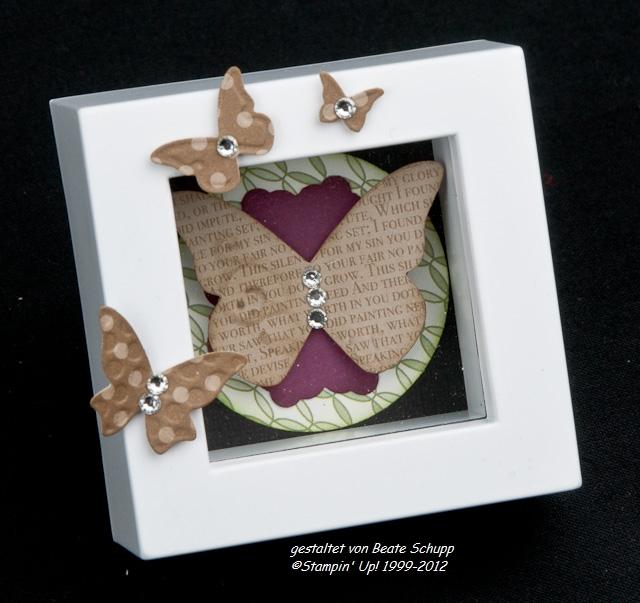 Stempel Trifft Papier Schmetterlinge Im Bilderrahmen