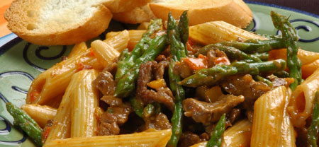 Beef Tapa And Asparagus Pasta