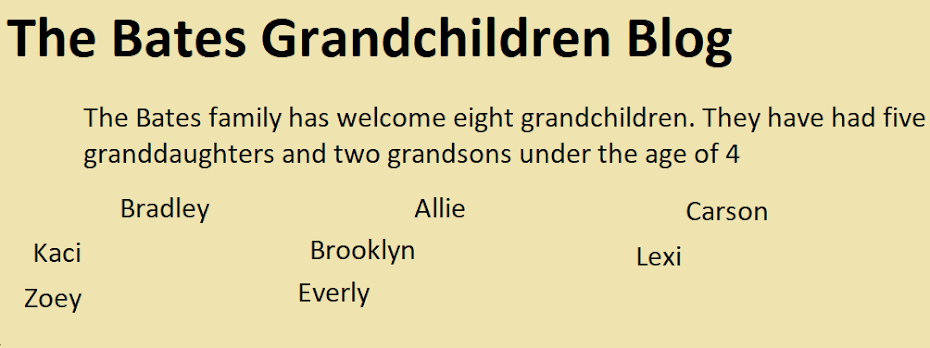 The Bates Grandchildren blog