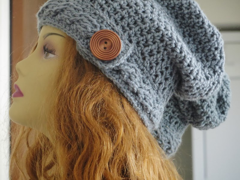 Slouch Hat Crochet Pattern, Cable Brim Slouchy Beanie , Pdf Pattern ...
