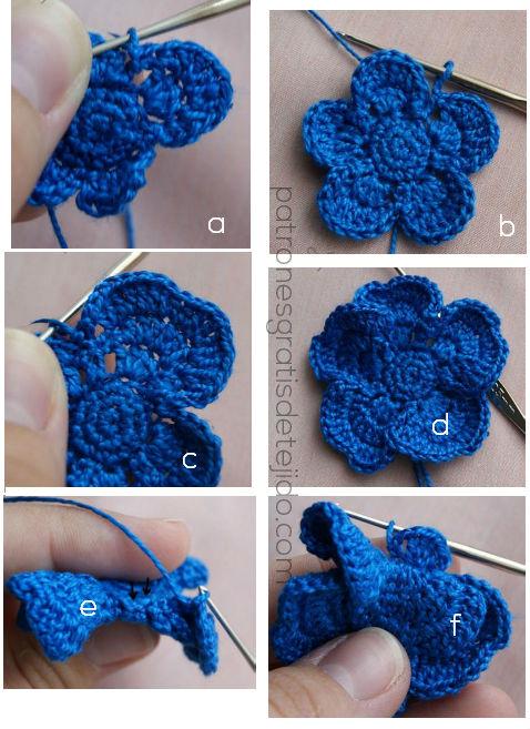 aprende a tejer una flor crochet de dos capas