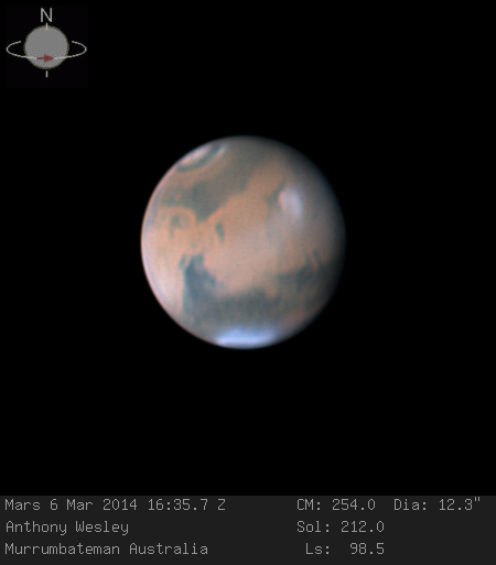Mars, photographed on March 6, 2014, by Australian amateur astronomer Anthony Wesley using a 16-inch telescope. Credit: Anthony Wesley