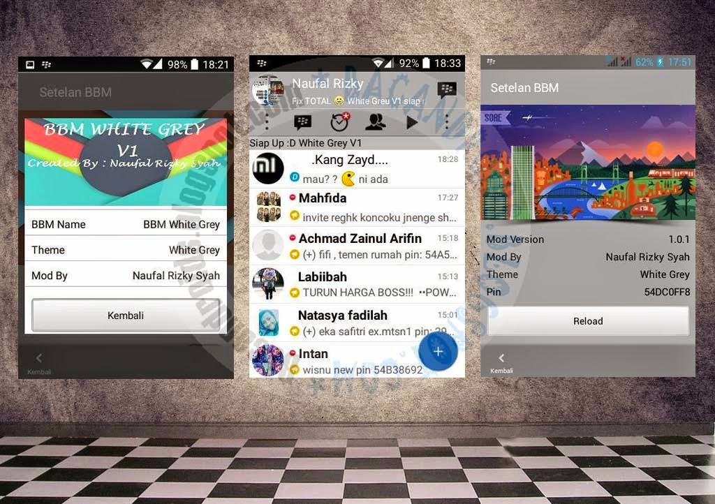 download BBM Mod Thema White Gray Dual Tab
