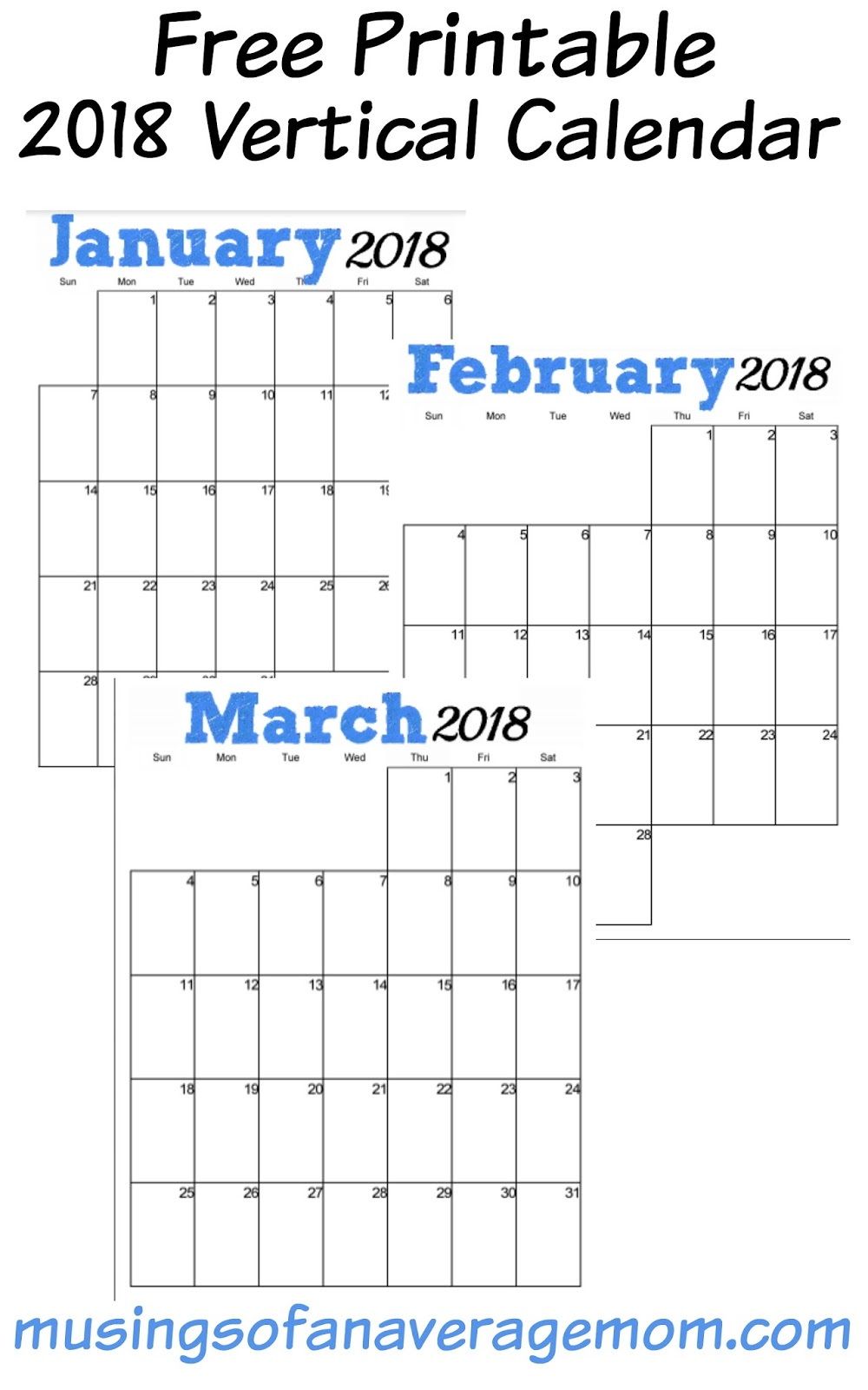 Musings of an Average Mom: 2018 Blue Vertical Calendar