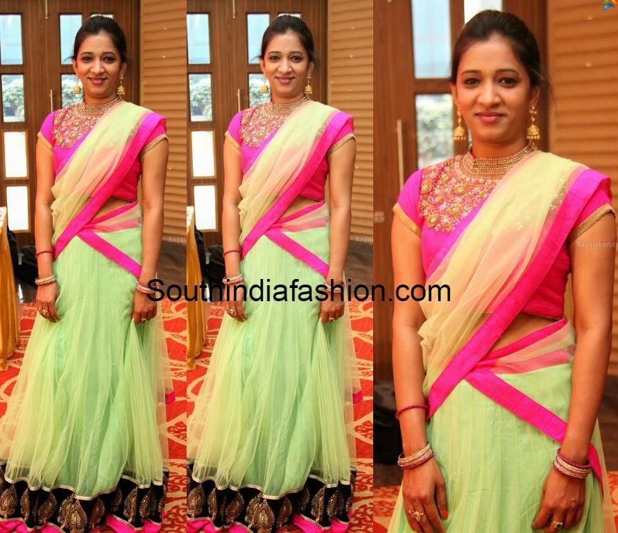 pastel green half saree