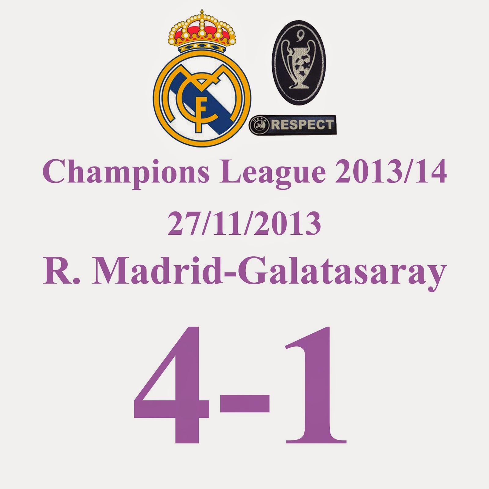 Real Madrid 4 - 1 Galatasaray - Goleada del R.Madrid con 10 Jugadores y además se clasifica como primero de grupo.