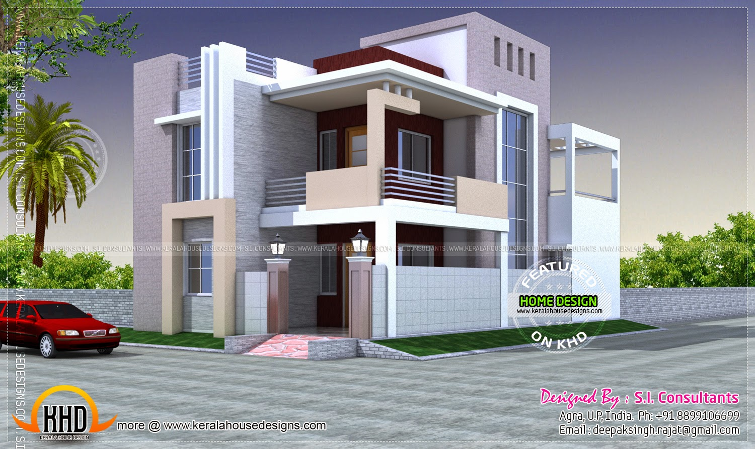 House exterior elevation modern style kerala home design for Indian home exterior design photos middle class