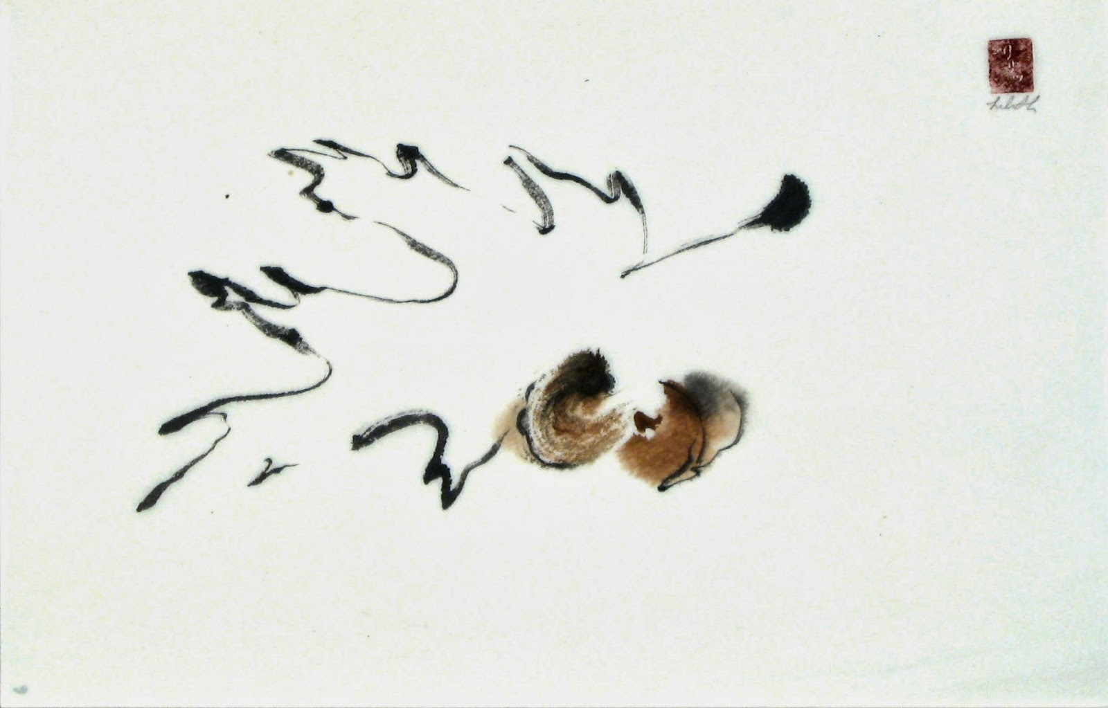 "Non Action ""Tao Te Ching"" verse 3 for Artists sumi-e painting of leaf."