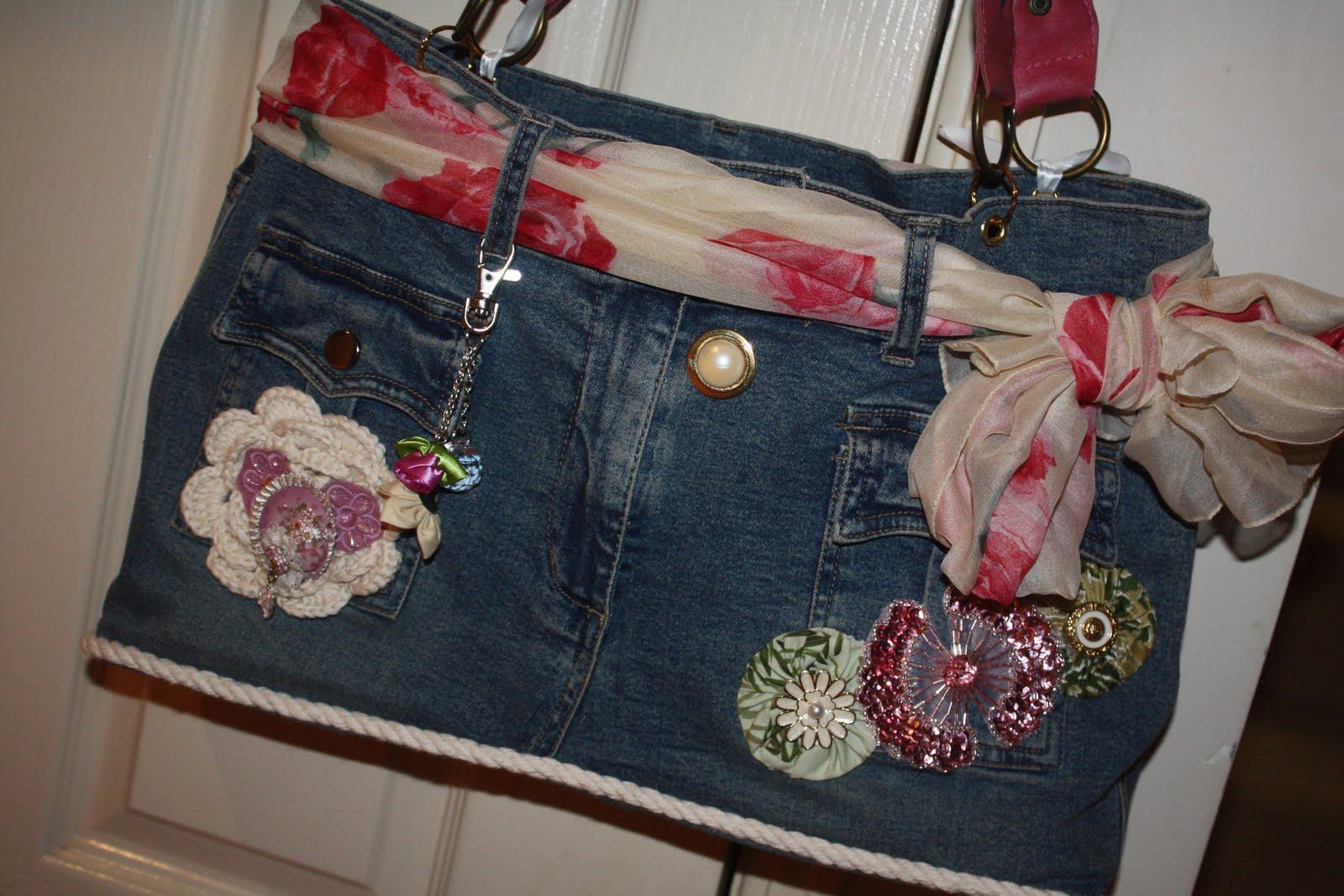 Украшаем джинсовые сумки своими руками 772