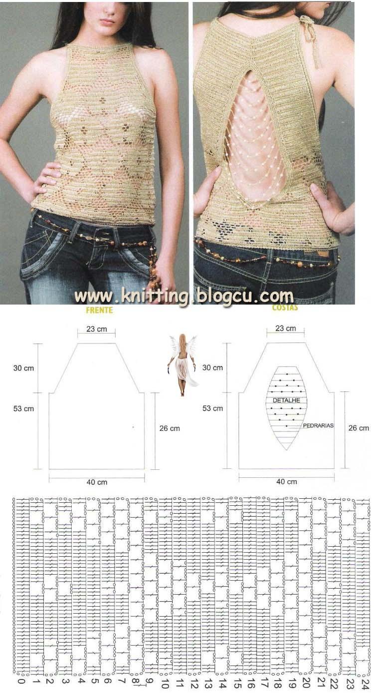 TRICO y CROCHET-madona-mía: Patrón de blusa a crochet