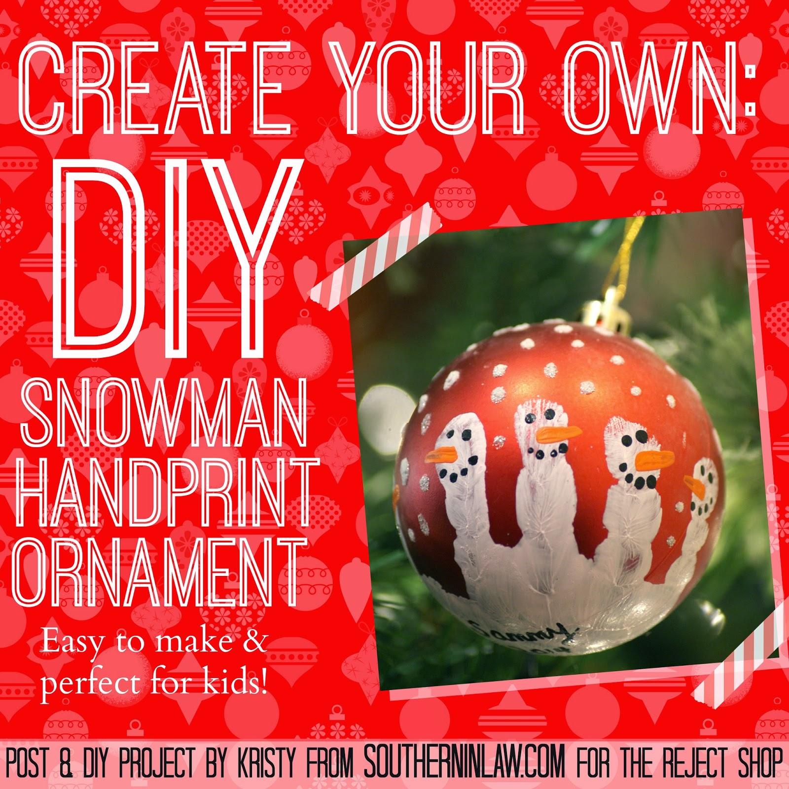 Easy DIY Christmas Ornament for Kids - Snowman Handprint Christmas Ornament
