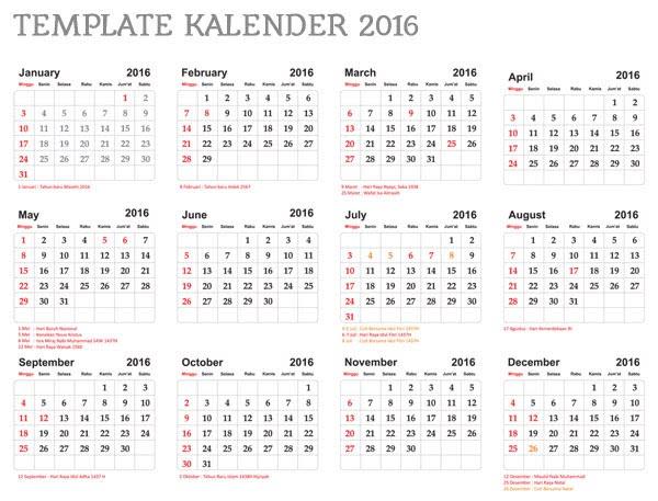 Template Kalender Indonesia 2016 Hari Libur Nasional