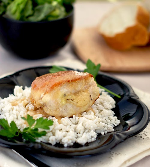 Brie-Stuffed Chicken Breasts with Pear and Cider Sauce ~ Heat Oven to ...