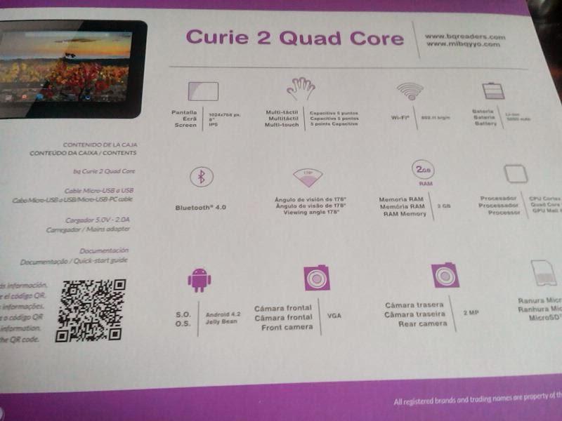 Tablet BQ Curie 2 quadcore parte trasera caja