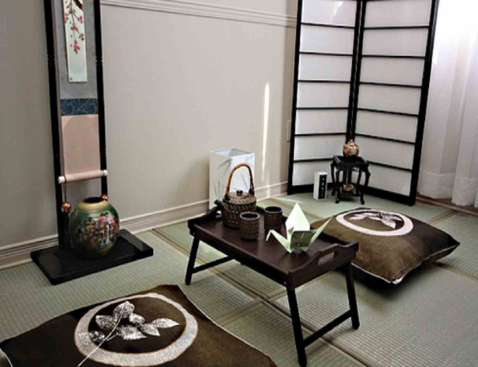 Japanese interior design interior home design for Living room japanese style