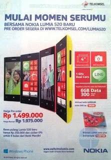 waktu lalu Nokia mengumumkan kerjasama paket bundling Nokia Lumia 520