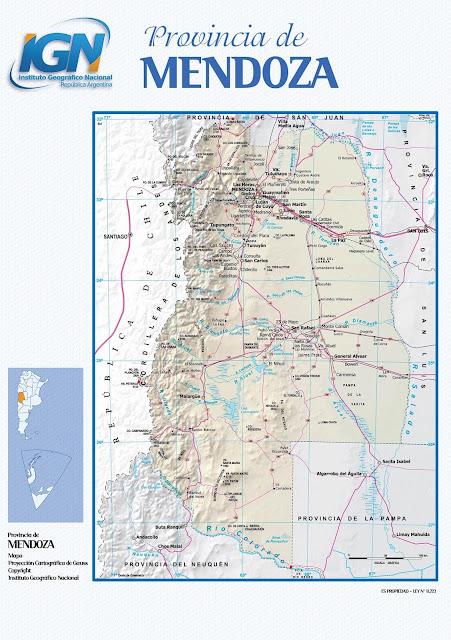 Mapa da província de Mendoza - Argentina