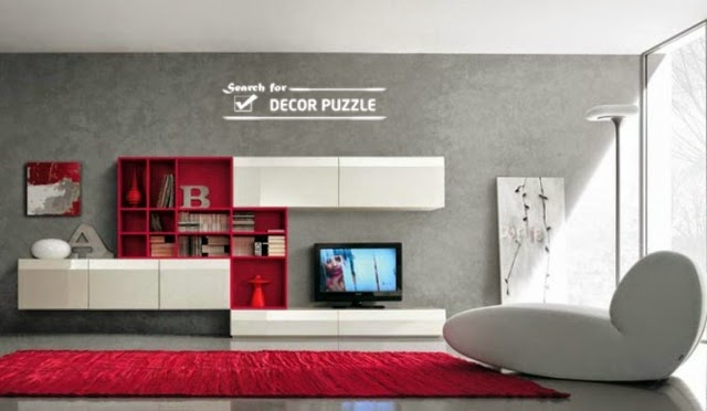 20 modern tv wall units for unique living room designs for Large tv wall units