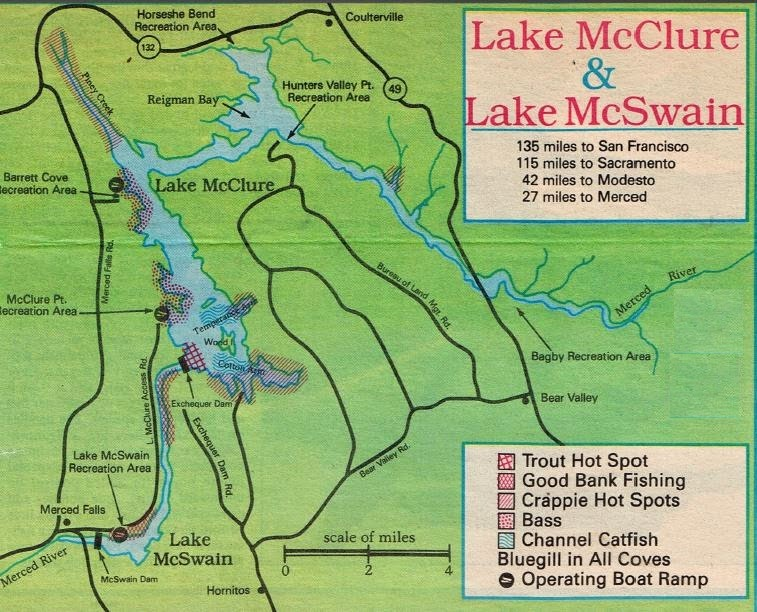 Lake McClure Fishing Map And Fishing Report Fishing Clubs And - Crowley lake map