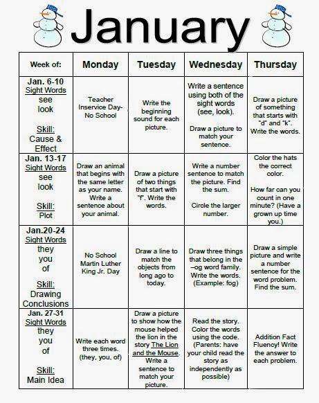 Kindergarten monthly homework calendars