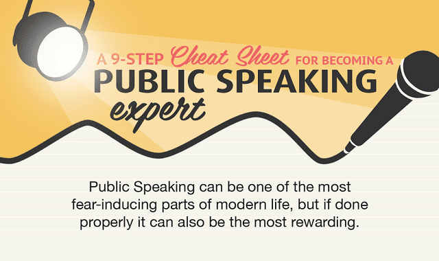 a 9 step cheatsheet for becoming a public speaking expert infographic visualistan. Black Bedroom Furniture Sets. Home Design Ideas