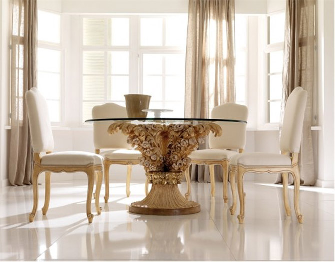Minimalist futuristic glass dining room tables chairs for Modern dining room table decor