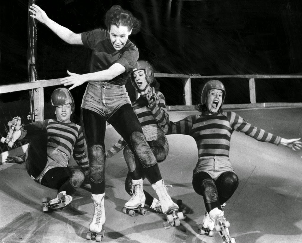 Roller skating derby - The Published Caption From 1949 Reads Pileups Like This Occur When Some Of The Ladies Are Brash Enough To Attempt A Scoring Drive