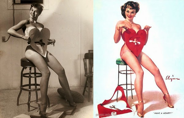 pin up paintings, real women behind pin up paintings-4