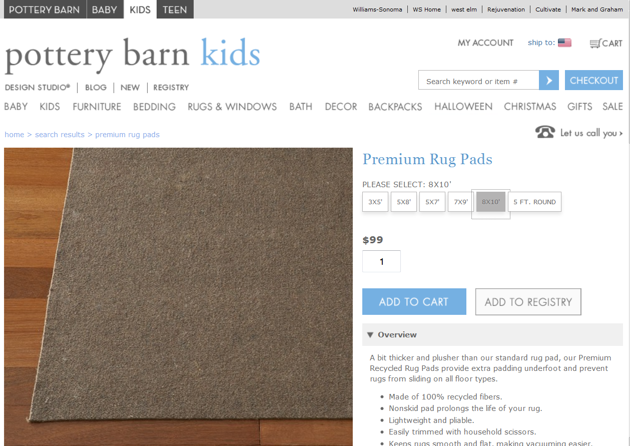 That Was Better, But The Seed Was Planted. What Would The Rug Pad Go For On  Other PB Sites? So I Went To Pottery Barn Kids.