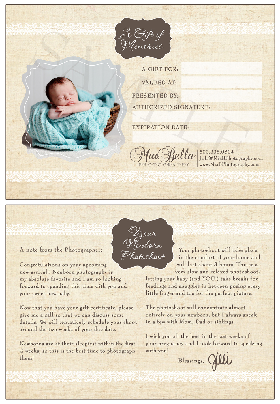 Mia bella photography newborn photoshoot gift for Photoshoot gift certificate template