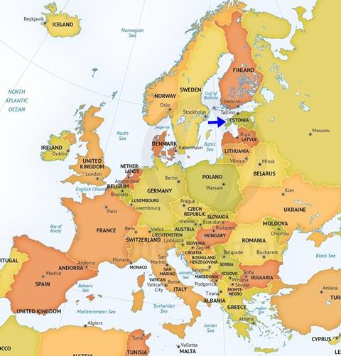 Estonya'nın Bulunduğu Yeri Gösteren Harita