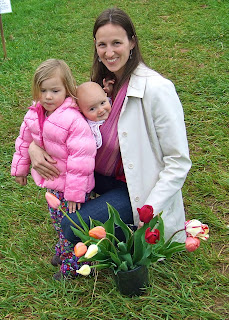 Em with Sierra and Kaia at Eco Tulips in Madison, VA