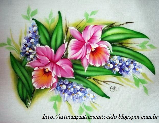 orquideas , na natureza elas são maravilhosas , na pintura em tecido