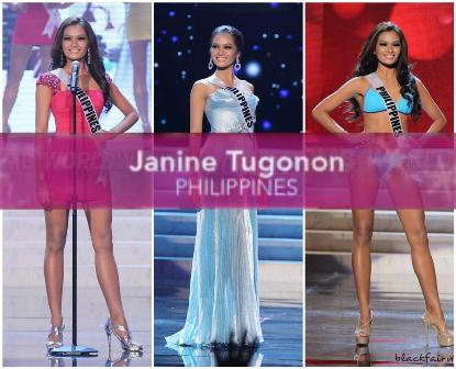 Miss Universe-Philippines Janine Tugonon in her cocktai dressl, evening gown and swimsuit during the Miss Universe 2012 preliminaries