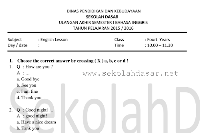 Soal UAS Bahasa Inggris Semester 1 Kelas 1, 2, 3, 4, 5, dan 6