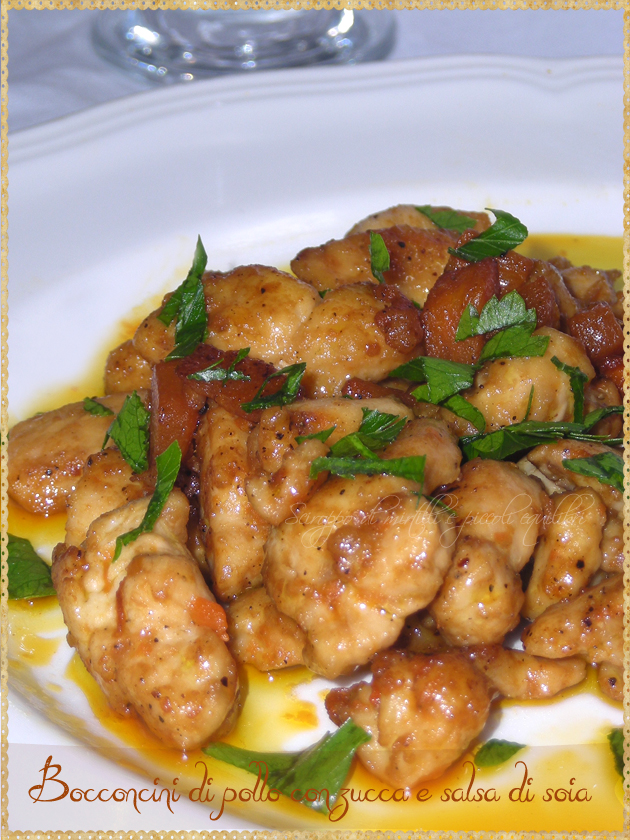 Petto di pollo con zucca e salsa di soia