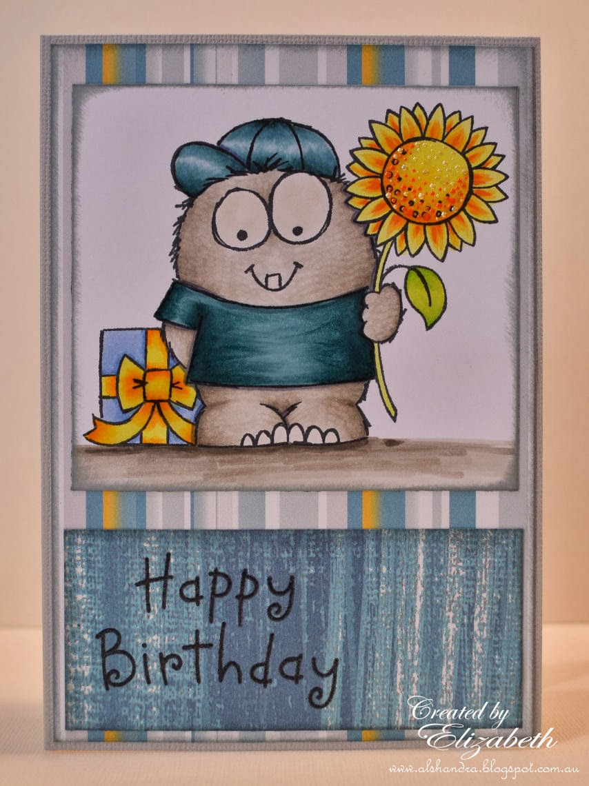 Elizabeth Whisson, Annabelle Stamps, Lil Monster, happy birthday, CAS, copic