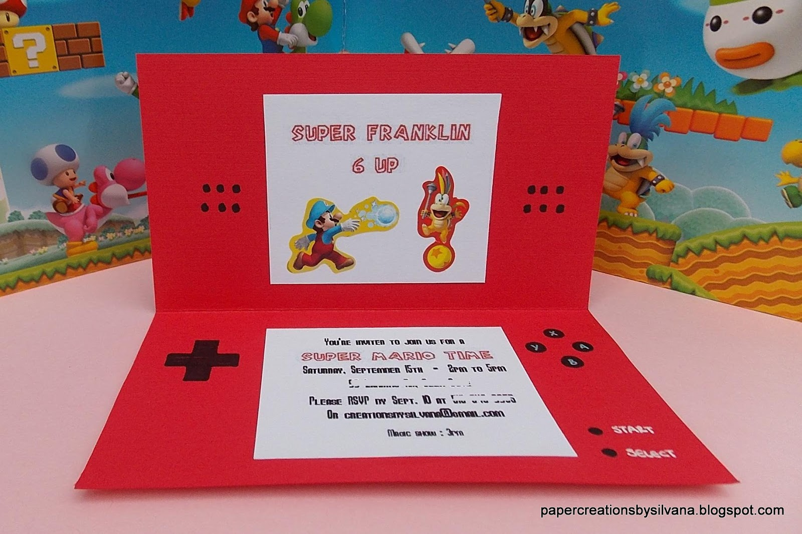 Paper Creations by Silvana: Super Mario DS SHAPE Invitations