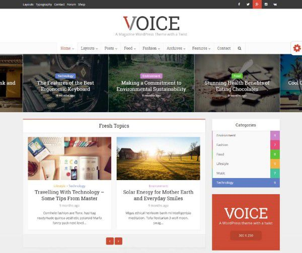 Voice clean theme for bloggers