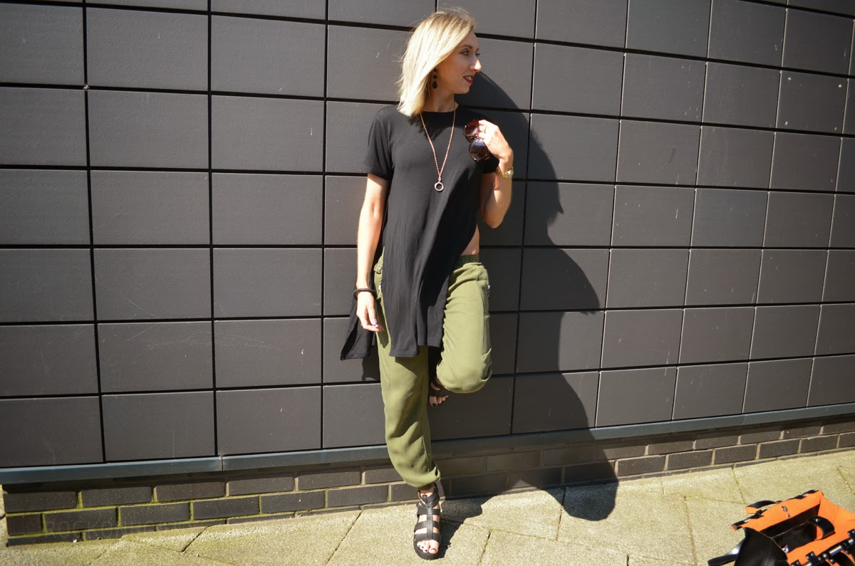 River Island Khaki Trousers and Black Tshirt