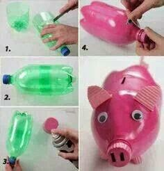 Piggy Bank Made From Waste Cold Drink Bottle @ Low Cost Creative Idea For Home  Decoration.