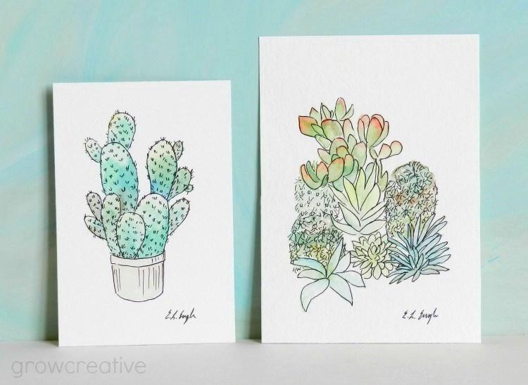 Grow CreativeCactus and Succulent Illustrations