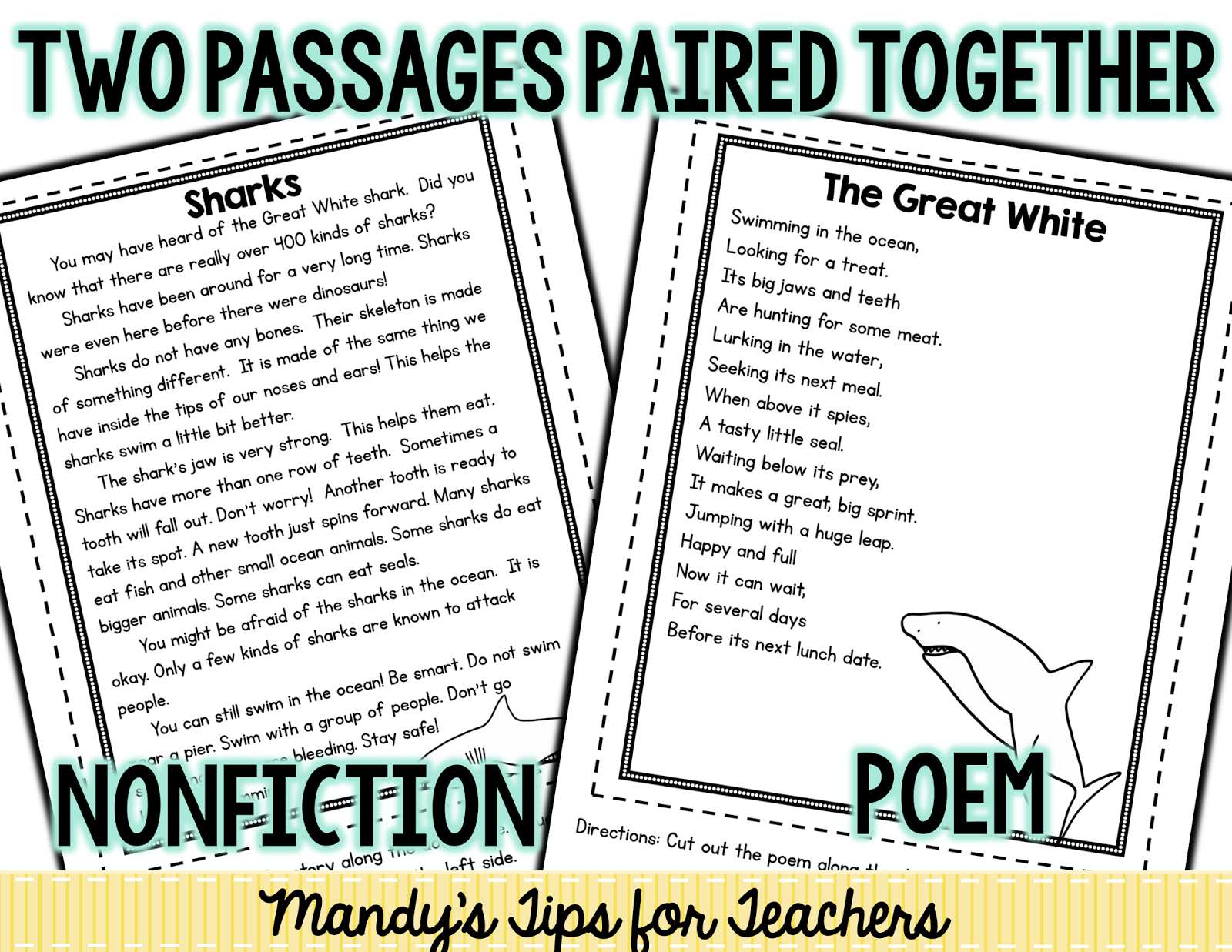 Worksheet Nonfiction Text Passages paired reading passages freebie mandys tips for teachers in this pack i included a nonfiction passage and poem that wrote about sharks wanted to make sure the could reac