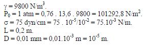 tubo capilar de longitud L y diámetro D valores ejercicio 6
