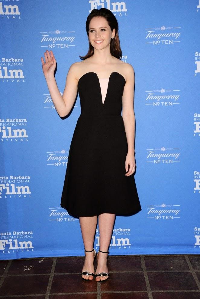 Felicity Jones wears a strapless dress to the 30th Santa Barbara International Film Festival