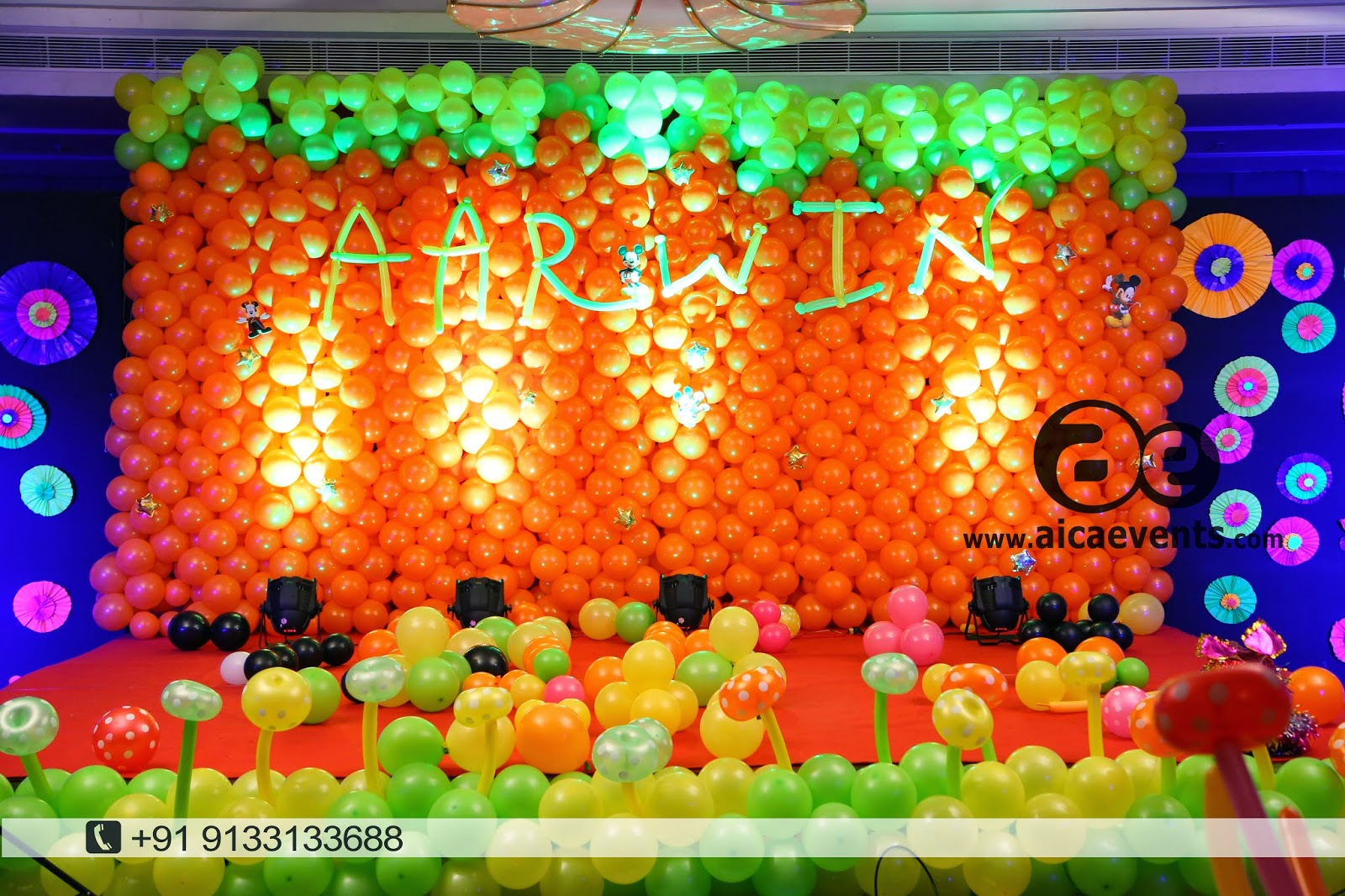 Aicaevents india balloon wall stage backdrop decoration balloon wall amipublicfo Image collections