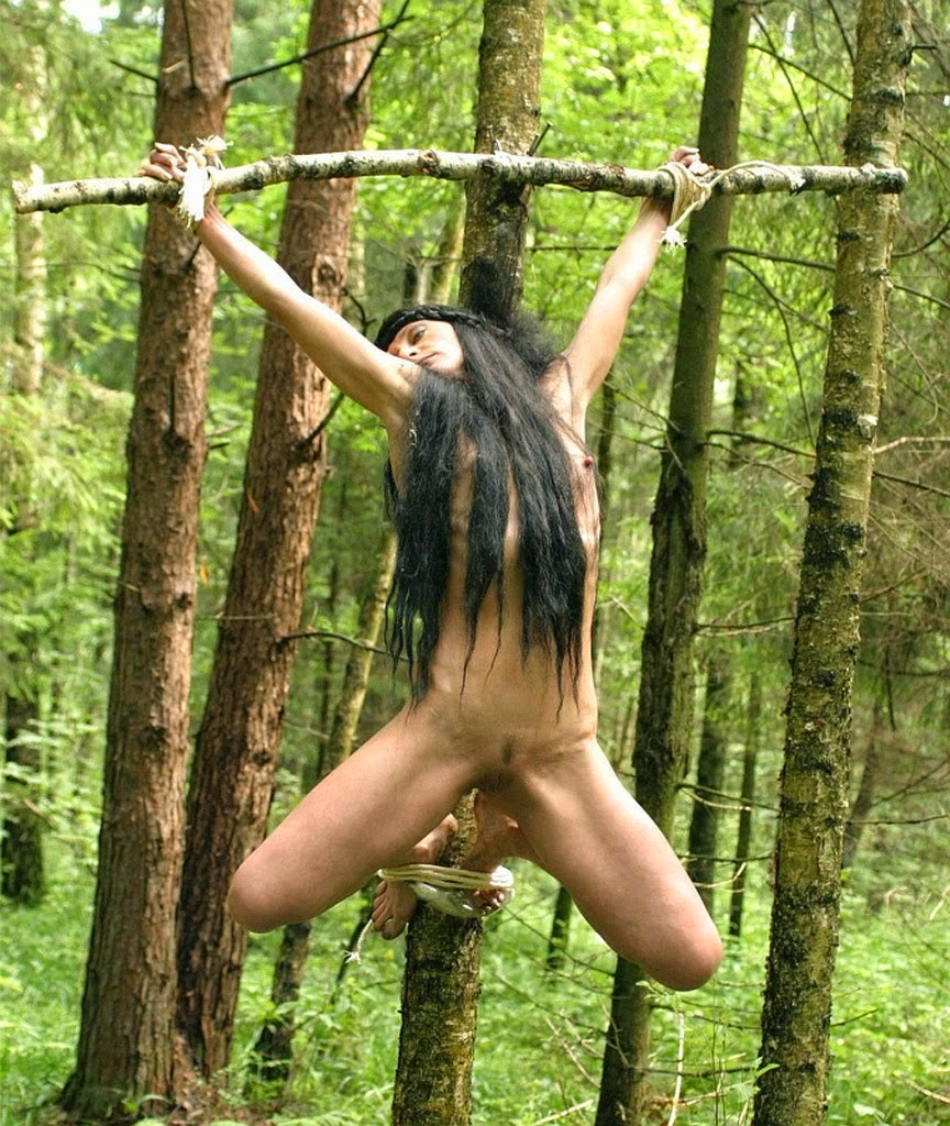 Girl naked on chair tied up